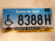 Expired NORTH DAKOTA Peace Garden State Handicapped License Plate 8388H Buffalo Wheat