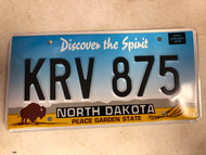 Expired NORTH DAKOTA Peace Garden State License Plate KRV-875 Buffalo Wheat