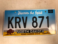 Expired NORTH DAKOTA Peace Garden State License Plate KRV-871 Buffalo Wheat