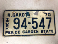 1970 NORTH DAKOTA Peace Garden State Truck License Plate 94-547