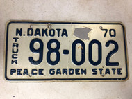 1970 NORTH DAKOTA Peace Garden State Truck License Plate 98-002