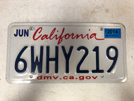 June 2014 CALIFORNIA License Plate 6WHY219 Why