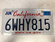 June 2014 CALIFORNIA License Plate 6WHY815 Why