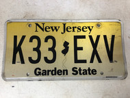 Expired NEW JERSEY Garden State License Plate K33-EXV