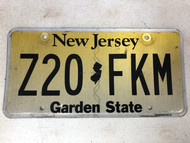 Expired NEW JERSEY Garden State License Plate Z20-FKM