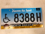 Expired NORTH DAKOTA Peace Garden State Handicapped License Plate 8388H Buffalo Wheat Discover the Spirit