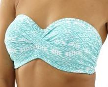 CW0263 Aqua/White Hattie Bandeau Bikini Top