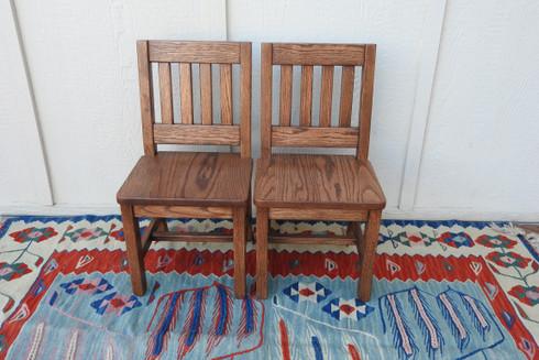"""2 Child Chairs - 12"""" seat H - Dark Oak"""