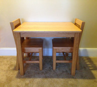 "CHILDREN'S TABLE AND 2 CHAIRS - Table 24""H, Chairs 14"" Seat H - Honey Brown"