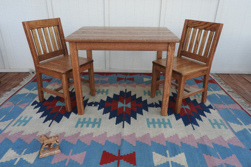 "Child Table 24 & 2 Chairs 14"" Dark Oak"