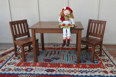 "Child Table 22"" & 2 Chairs 12"" Dark Oak"