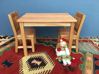 "CHILDREN'S TABLE AND 2 CHAIRS - Table 22""H, Chairs 12"" Seat H - Tried & True Original Wood Finish"