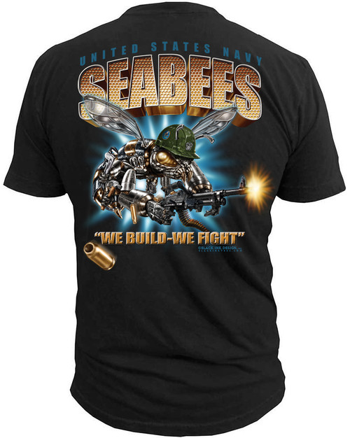 "Men's Navy T-Shirt - US Navy SeaBees ""We Build We Fight""  - Back"