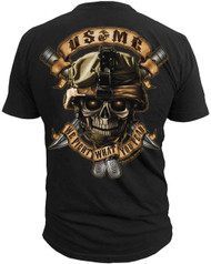 "Men's Marines T-Shirt - US Marines Corps ""We Fight What You Fear"" Marines - Black - Back"
