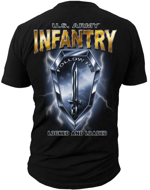 """Men's Army T-Shirt - US Army Infantry - """"Locked & Loaded"""" - Back"""