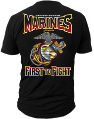 Men's Marines T-Shirt - US MARINES - FIRST TO FIGHT USMC - Back