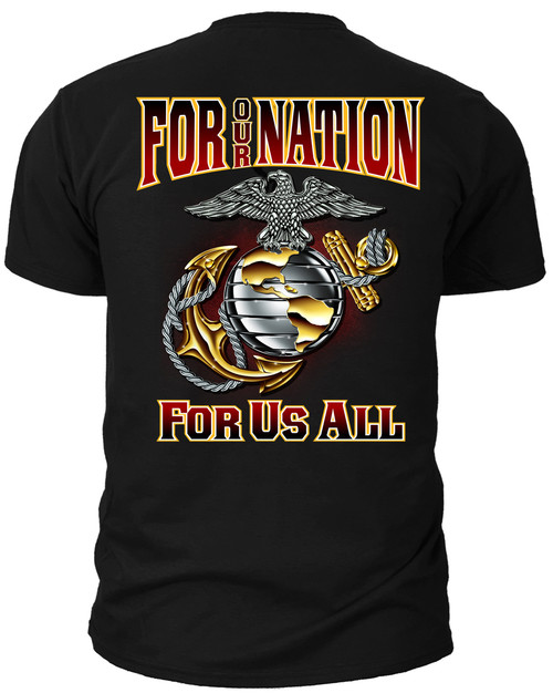 Men's Marines T-Shirt - US Marines FOR OUR NATION - FOR US ALL - Back