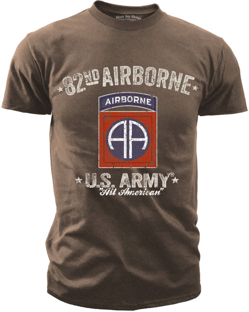 Men's Army T-Shirt - US Army 82nd Airborne - Retro - Brown Heather - Front