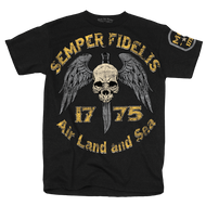 "Men's Marines T-Shirt - USMC Semper Fidelis - ""Land, Air & Sea"" United States Marines - Front"