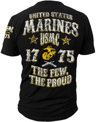 Men's Marines T-Shirt - US Marines -The Few The Proud USMC - Black - Back