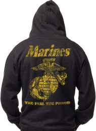 Men's Marines Hoodie - Marines Classic - The Few The Proud Men's USMC Hooded Sweatshirt - Back