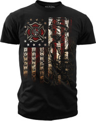 Men's Firefighter T-shirt - American Flag - Front