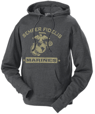 Men's and Lady's Marines Hoodie - Semper Fidelis Retro USMC Hooded Sweatshirt - Charcoal