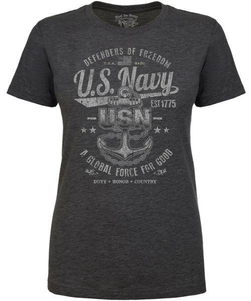 Lady's T-Shirt - Navy - Defenders of Freedom Retro Women's US Navy