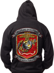 MEN'S MARINES HOODIE - ONCE A MARINE - ALWAYS A MARINE - USMC - SEMPER FI - Black