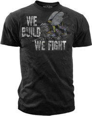 Men's Navy T-Shirt - U.S. Navy Sea Bees - We Build We Fight - Hooyah