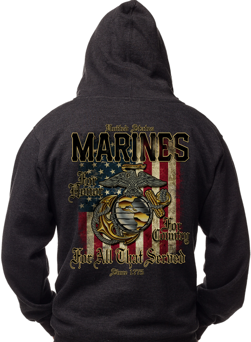 Men's and Lady's Marine Corps. Hoodie - Marines - For All That Served Sweatshirt Back