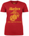 """Lady's Marines T-Shirt - US Marines Classic """"The Few The Proud"""" - Red - Front"""