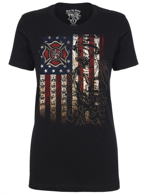 Lady's Firefighter T-shirt - American Flag Front