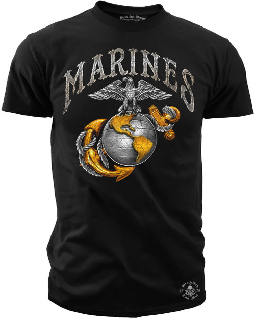 Men's Marines Rustic Eagle Globe & Anchor T-Shirt - Marines - Men's T-Shirt (Front)