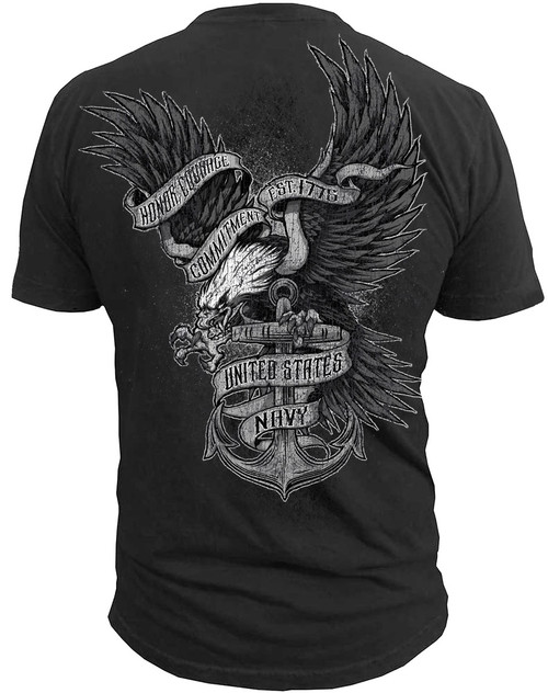 Men's United States Navy - Honor Courage Commitment Back