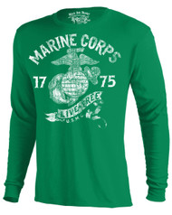 Men's USMC Long Sleeve Tee - Marine Corps - Live Free Kelly Green