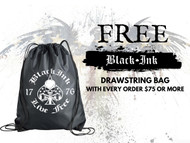 Black Ink rally Bag Drawstring Backpack Black