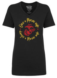 Once a Marine Wife - Always a Marine Wife - Black V-neck
