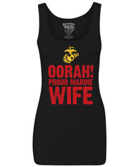 Oorah Proud Marine Wife - Black Tank Top