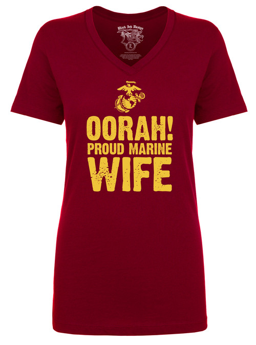 Oorah - Proud Marine Wife - Military Pride V-Neck T-Shirt - Red