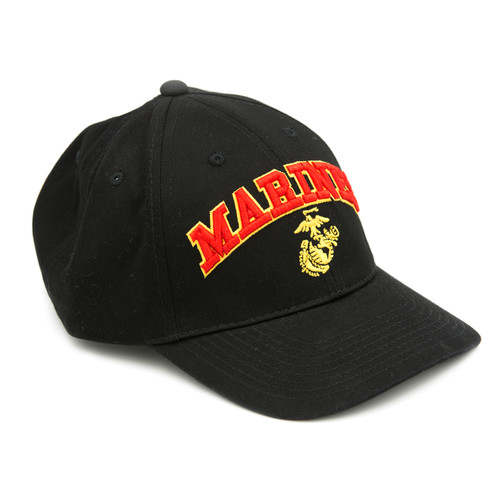 Marines Eagle Globe and Anchor Embroidered Cap (BIC-731BLK) Front