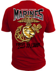 Marines T-Shirt - EG & A Marines USMC Men's Red T-Shirt Back