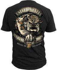 Men's Marines T-Shirt - USMC Release the Dogs of War - Black - Back