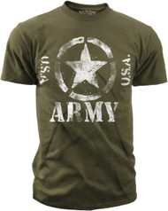 "Men's Army T-Shirt - US Army ""Classic Star U.S.A""  - Olive - Front"