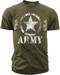 """Men's Army T-Shirt - US Army """"Classic Star U.S.A""""  - Olive - Front"""
