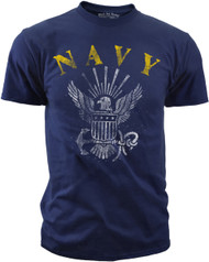 "Men's Navy T-Shirt - US Navy ""Classic Emblem"" - Navy Front"