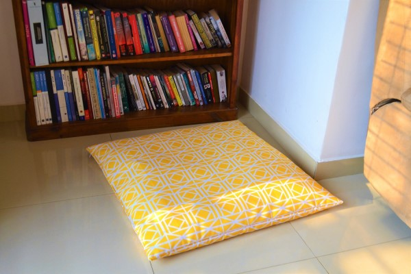 "YELLOW WATERPROOF OUTDOOR FLOOR CUSHION COVER LARGE 35"" PRICE:"