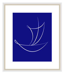 Cobalt Blue Sailboat Printable Wall Art Coastal Nautical Wall Decor Instant Download, Greek Blue, Navy Blue Home Decor