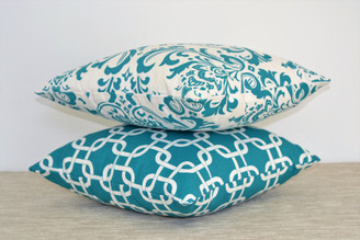 Aqua Throw Pillow Set - Premier Prints Geometric / Damask Pattern