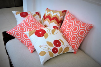 Red Throw pillows, Coral cushion covers,